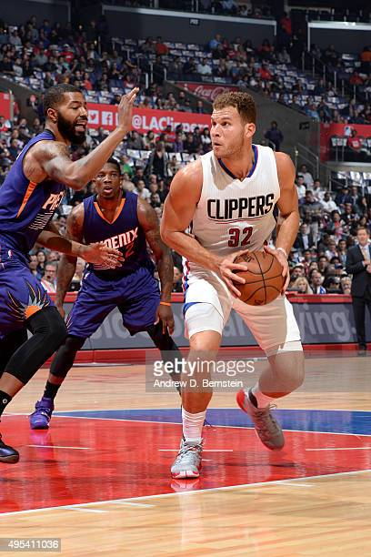 Blake Griffin of the Los Angeles Clippers goes to the basket against the Phoenix Suns on November 2 2015 at STAPLES Center in Los Angeles California...