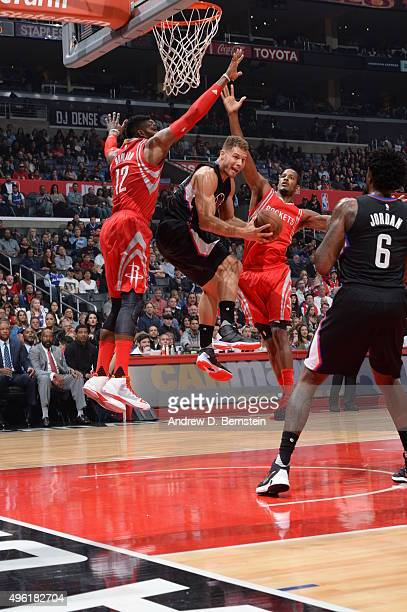 Blake Griffin of the Los Angeles Clippers goes to the basket against the Houston Rockets on November 7 2015 at STAPLES Center in Los Angeles...