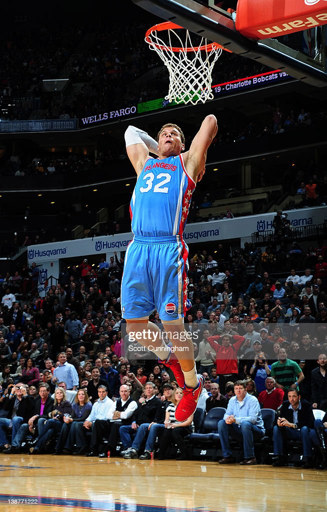 Blake Griffin #32 of the Los Angeles Clippers goes to the basket during the game between the Los Angeles Clippers and the Charlotte Bobcats on February 11, 2012 at Philips Arena in Atlanta, Georgia.