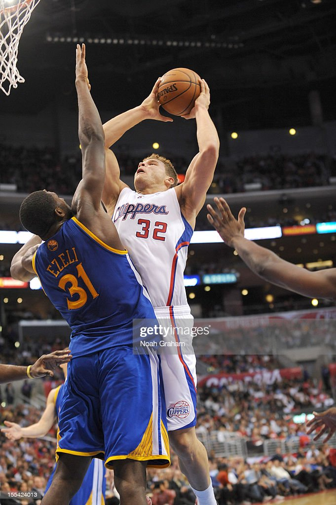 Blake Griffin #32 of the Los Angeles Clippers goes to the basket over Festus Ezeli #31 of the Golden State Warriors during the game between the Los Angeles Clippers and the Golden State Warriors at Staples Center on November 3, 2012 in Los Angeles, California.