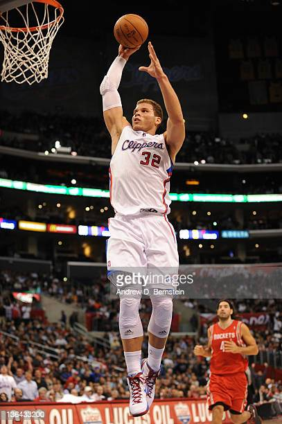 Blake Griffin of the Los Angeles Clippers goes up for a dunk against the Houston Rockets at Staples Center on January 4 2012 in Los Angeles...