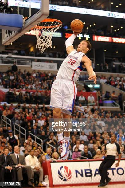 Blake Griffin of the Los Angeles Clippers goes up for a dunk against the Dallas Mavericks at Staples Center on January 18 2012 in Los Angeles...