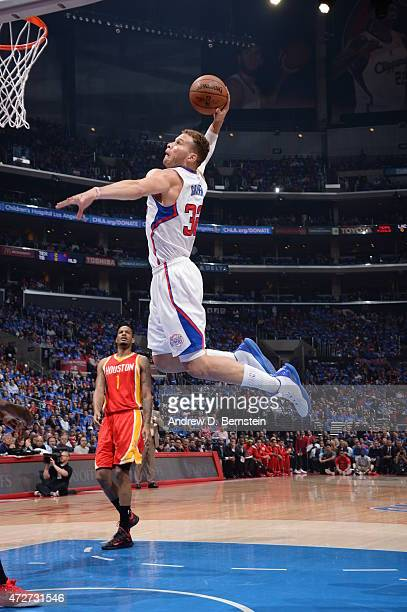Blake Griffin of the Los Angeles Clippers goes up for a dunk against the Houston Rockets in Game Three of the Western Conference Semifinals during...