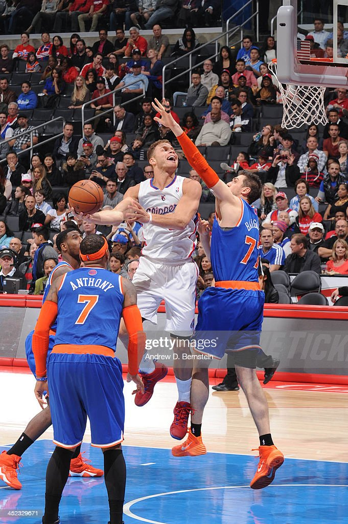 Blake Griffin #32 of the Los Angeles Clippers goes up for a shot against the New York Knicks at Staples Center on November 27, 2013 in Los Angeles, California.