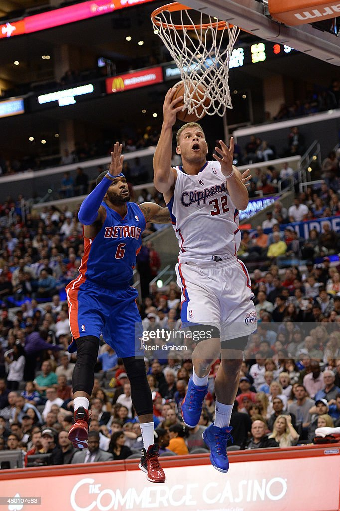 Blake Griffin #32 of the Los Angeles Clippers goes up for a shot against the Detroit Pistons at STAPLES Center on March 22, 2014 in Los Angeles, California.