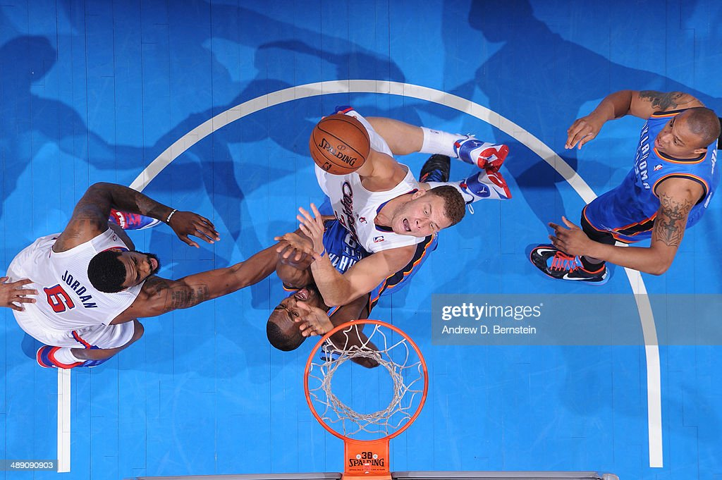 <a gi-track='captionPersonalityLinkClicked' href=/galleries/search?phrase=Blake+Griffin+-+Basketball+Player&family=editorial&specificpeople=4216010 ng-click='$event.stopPropagation()'>Blake Griffin</a> #32 of the Los Angeles Clippers goes up for a shot against Serge Ibaka #9 of the Oklahoma City Thunder in Game Three of the Western Conference Semifinals during the 2014 NBA Playoffs at Staples Center on May 9, 2014 in Los Angeles, California.