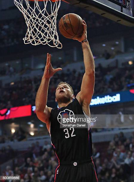 Blake Griffin of the Los Angeles Clippers goes up for a shot against the Chicago Bulls at the United Center on December 10 2015 in Chicago Illinois...
