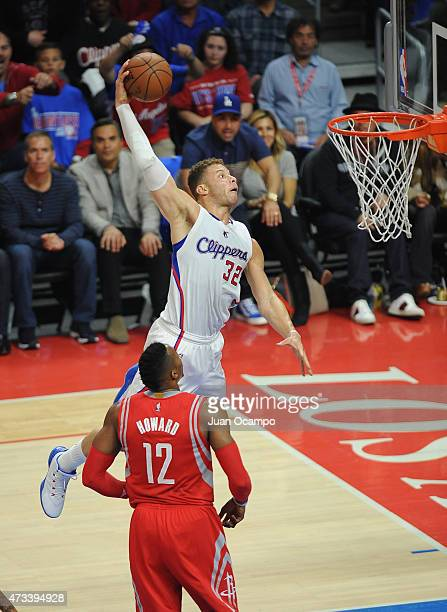 Blake Griffin of the Los Angeles Clippers goes up for the dunk against Dwight Howard of the Houston Rockets in Game Six of the Western Conference...