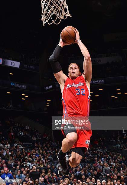 Blake Griffin of the Los Angeles Clippers goes up for the dunk against the Brooklyn Nets at the Barclays Center on February 22015 in Brooklyn NY NOTE...