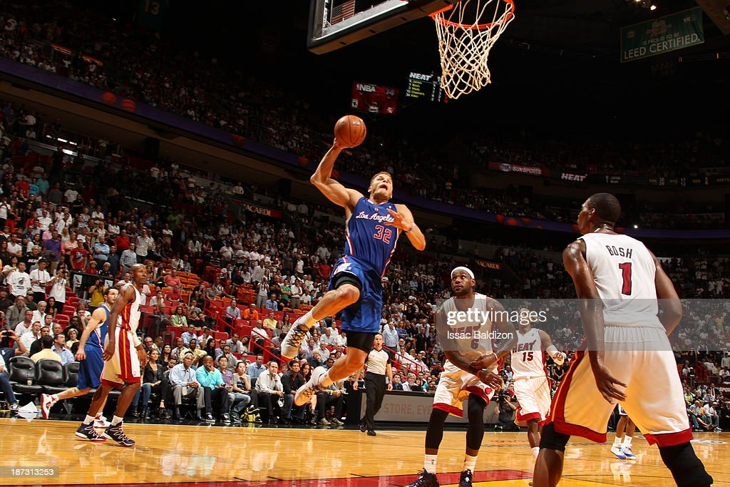 <a gi-track='captionPersonalityLinkClicked' href=/galleries/search?phrase=Blake+Griffin+-+Basketball+Player&family=editorial&specificpeople=4216010 ng-click='$event.stopPropagation()'>Blake Griffin</a> #32 of the Los Angeles Clippers goes up for the layup against the Miami Heat on November 7, 2013 at American Airlines Arena in Miami, Florida.