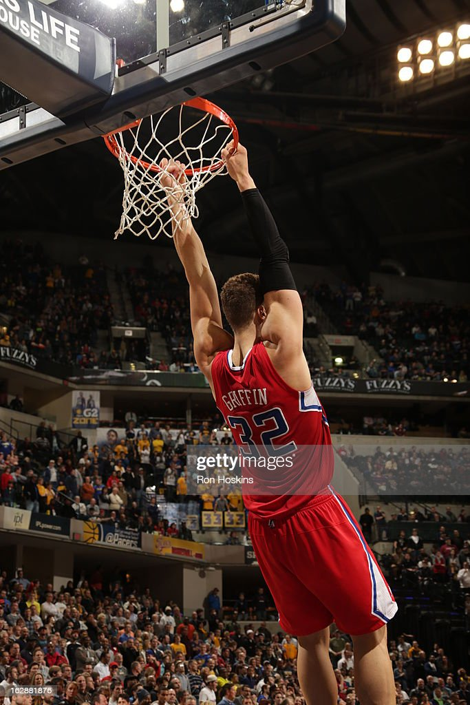 Blake Griffin #32 of the Los Angeles Clippers goes up for the reverse dunk against the Indiana Pacers on February 28, 2013 at Bankers Life Fieldhouse in Indianapolis, Indiana.
