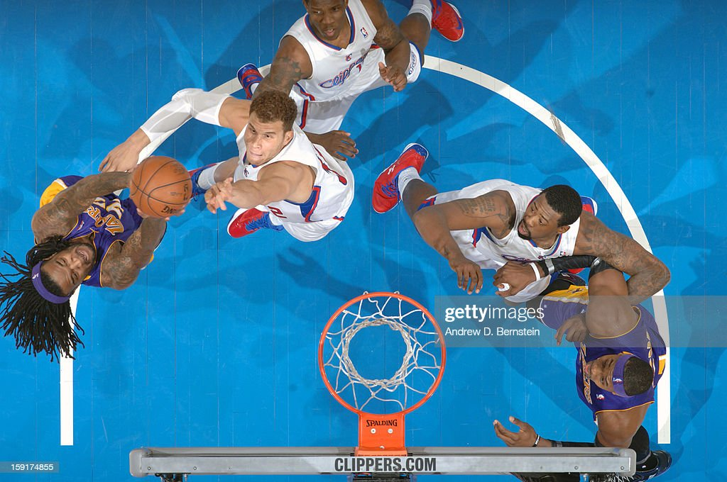 Blake Griffin #32 of the Los Angeles Clippers goes up for the tip against the Los Angeles Lakers at Staples Center on January 4, 2013 in Los Angeles, California.
