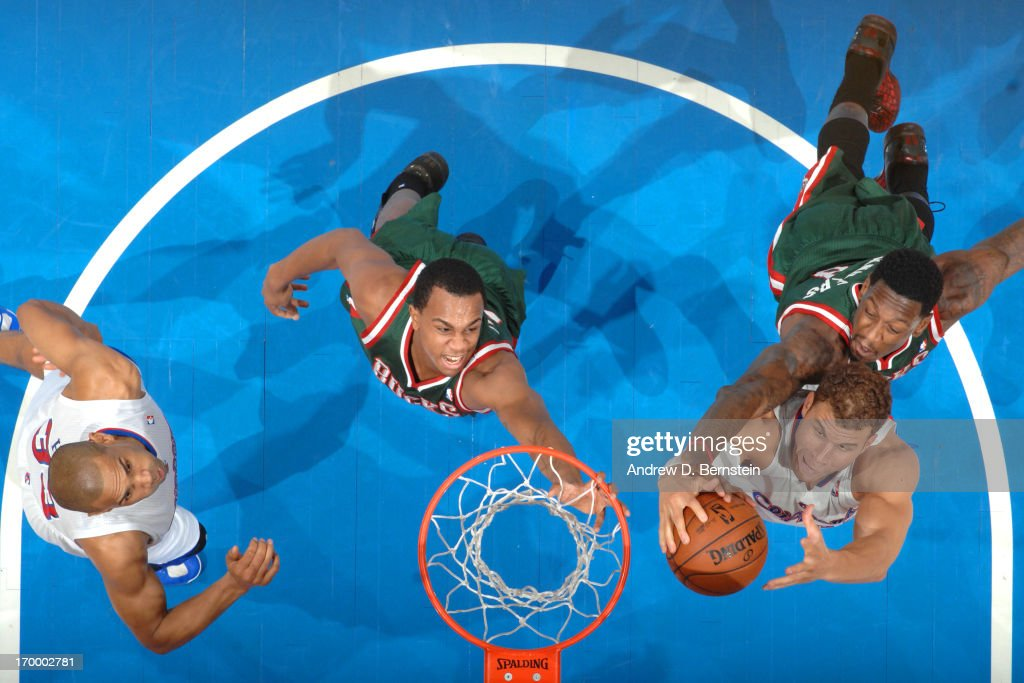 Blake Griffin #32 of the Los Angeles Clippers grabs a rebound against Larry Sanders #8 of the Milwaukee Bucks at Staples Center on March 6, 2013 in Los Angeles, California.