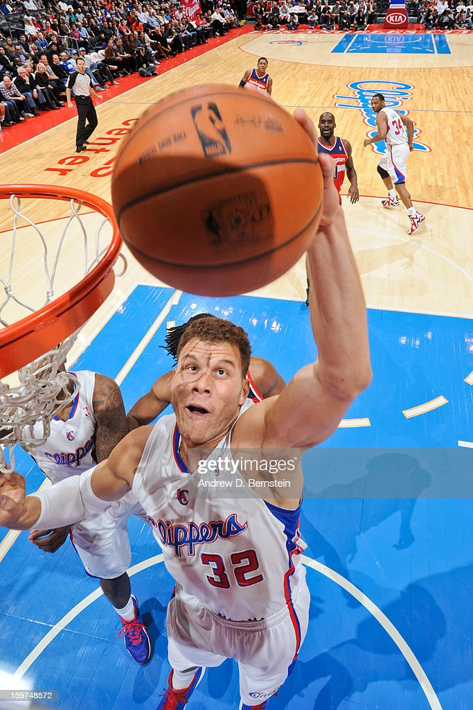 Blake Griffin #32 of the Los Angeles Clippers grabs a rebound against the Washington Wizards at Staples Center on January 19, 2013 in Los Angeles, California.