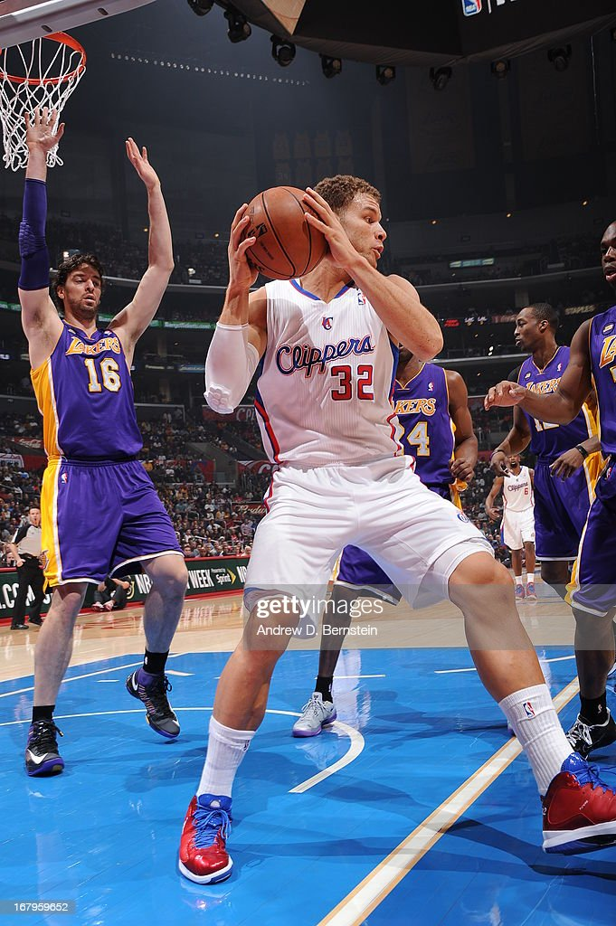 <a gi-track='captionPersonalityLinkClicked' href=/galleries/search?phrase=Blake+Griffin+-+Basketball+Player&family=editorial&specificpeople=4216010 ng-click='$event.stopPropagation()'>Blake Griffin</a> #32 of the Los Angeles Clippers grabs a rebound against the Los Angeles Lakers at Staples Center on April 7, 2013 in Los Angeles, California.