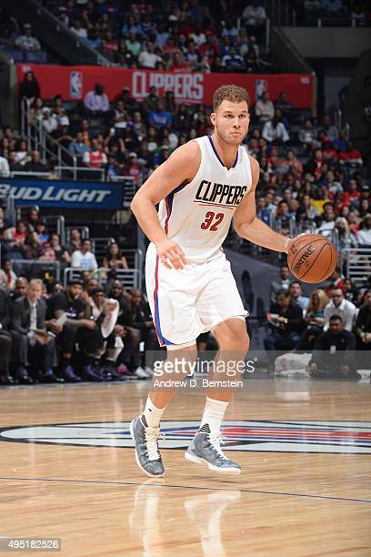 Blake Griffin of the Los Angeles Clippers handles the ball against the Sacramento Kings on October 31 2015 at STAPLES Center in Los Angeles...