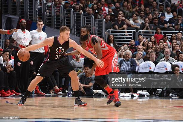 Blake Griffin of the Los Angeles Clippers handles the ball against James Harden of the Houston Rockets on November 7 2015 at STAPLES Center in Los...