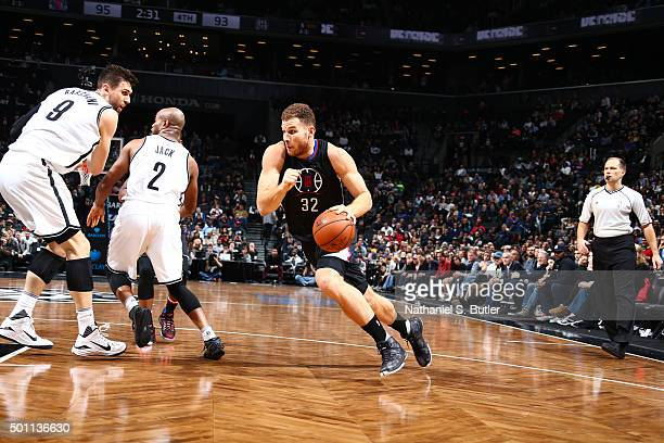 Blake Griffin of the Los Angeles Clippers handles the ball against the Brooklyn Nets on December 12 2015 at Barclays Center in Brooklyn New York NOTE...