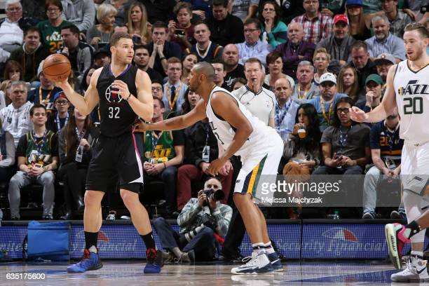 Blake Griffin of the Los Angeles Clippers handles the ball against the Utah Jazz on February 13 2017 at vivintSmartHome Arena in Salt Lake City Utah...