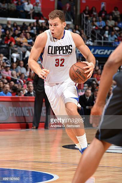 Blake Griffin of the Los Angeles Clippers handles the ball during the game against the Minnesota Timberwolves on November 29 2015 at STAPLES Center...
