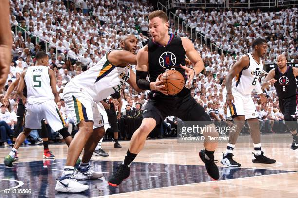 Blake Griffin of the Los Angeles Clippers handles the ball during the game against the Utah Jazz during the Western Conference Quarterfinals of the...