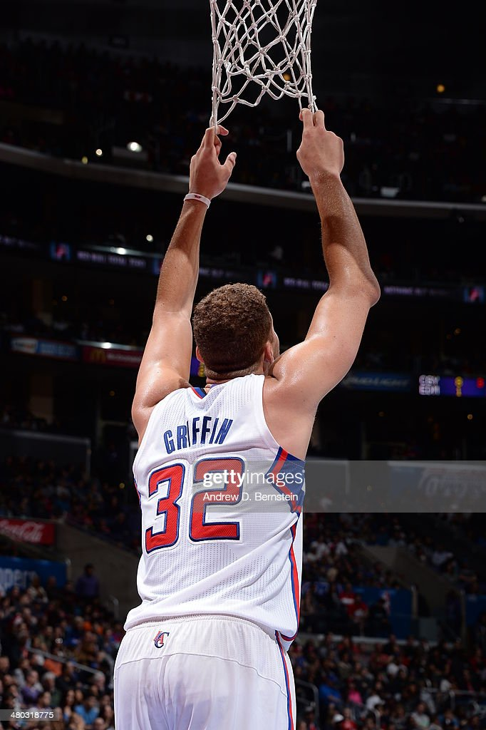 Blake Griffin #32 of the Los Angeles Clippers hangs on the net during a game against the Detroit Pistons at STAPLES Center on March 22, 2014 in Los Angeles, California.