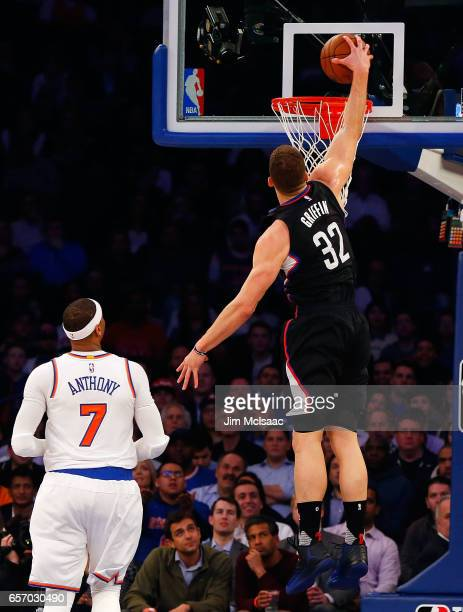 Blake Griffin of the Los Angeles Clippers in action against Carmelo Anthony of the New York Knicks at Madison Square Garden on February 8 2017 in New...