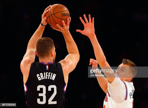 Blake Griffin of the Los Angeles Clippers in action against Kristaps Porzingis of the New York Knicks at Madison Square Garden on February 8 2017 in...