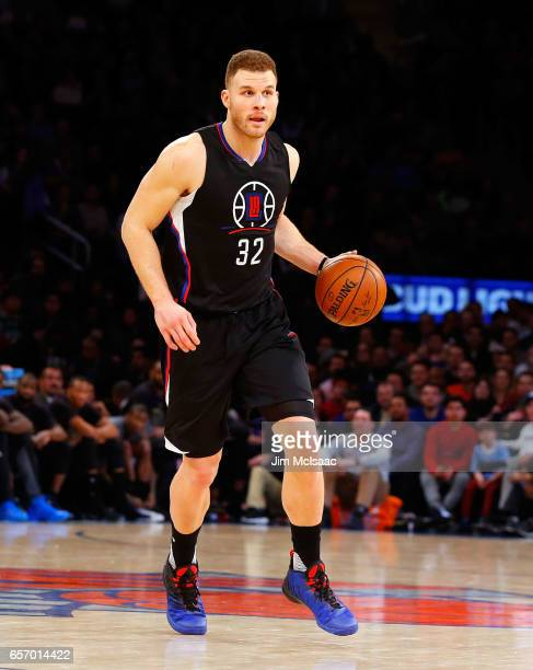 Blake Griffin of the Los Angeles Clippers in action against the New York Knicks at Madison Square Garden on February 8 2017 in New York City The...