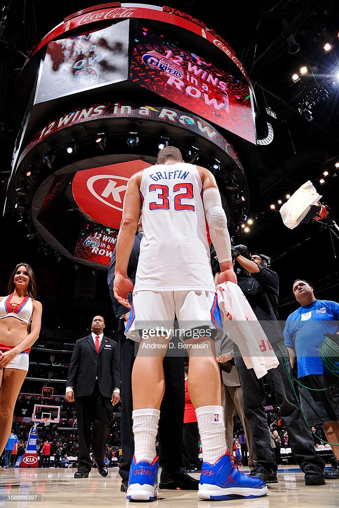 Blake Griffin #32 of the Los Angeles Clippers is interviewed following his team's 12th straight victory after a game against the Sacramento Kings at Staples Center on December 21, 2012 in Los Angeles, California.