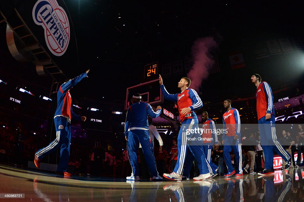 <a gi-track='captionPersonalityLinkClicked' href=/galleries/search?phrase=Blake+Griffin+-+Basketball+Player&family=editorial&specificpeople=4216010 ng-click='$event.stopPropagation()'>Blake Griffin</a> #32 of the Los Angeles Clippers is introduced before a game against the Brooklyn Nets on November 16, 2013 at STAPLES Center in Los Angeles, California.