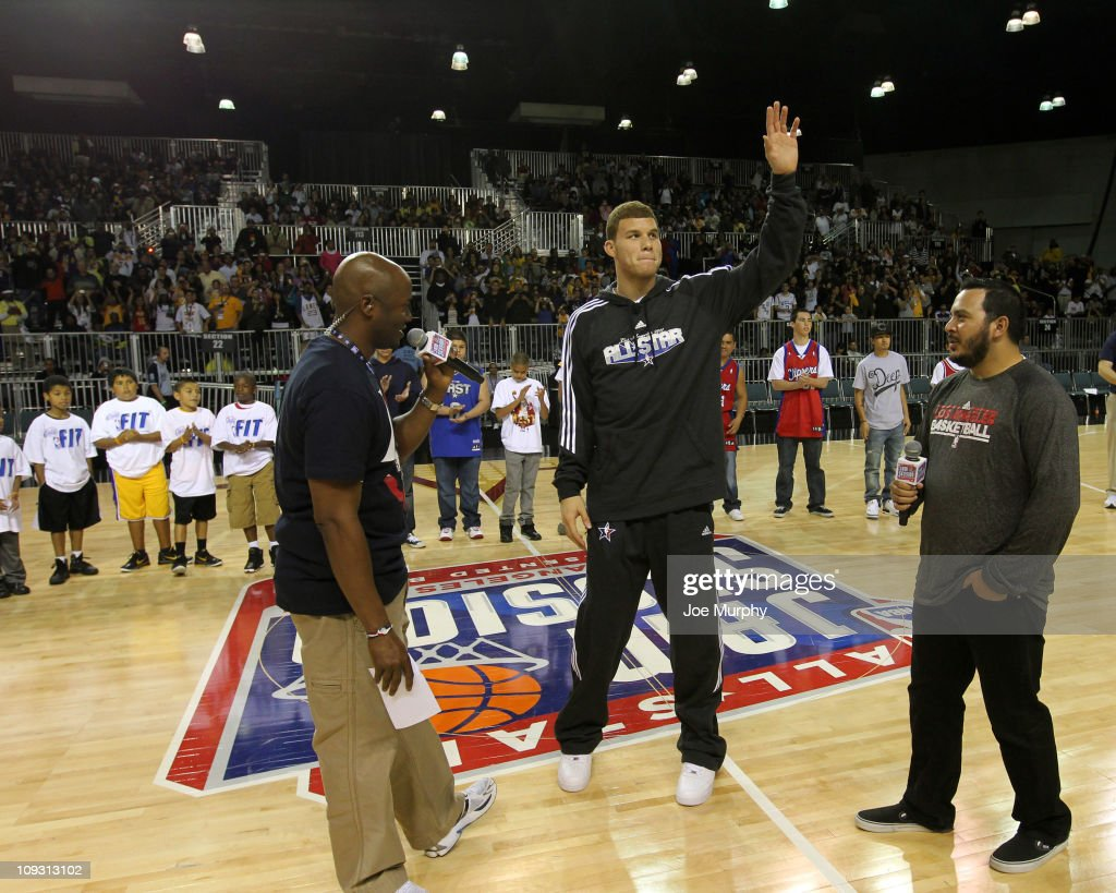 Blake Griffin of the Los Angeles Clippers is introduced during the KROQ Blake Griffin Showcase on center court at Jam Session presented by Adidas during NBA All Star Weekend at the Los Angeles Convention Center on February 20, 2011 in Los Angeles, California.