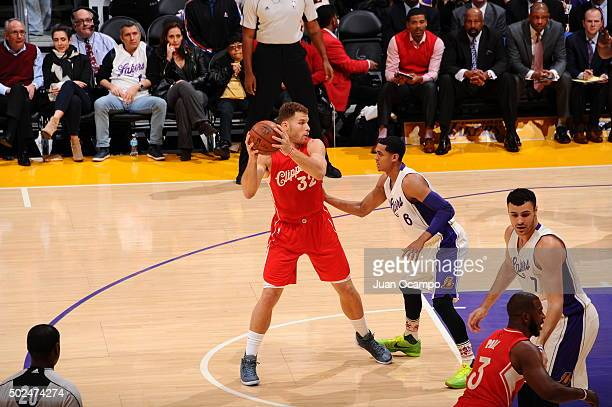 Blake Griffin of the Los Angeles Clippers looks to pass against the Los Angeles Lakers on December 25 2015 at the Staples Center in Los Angeles...