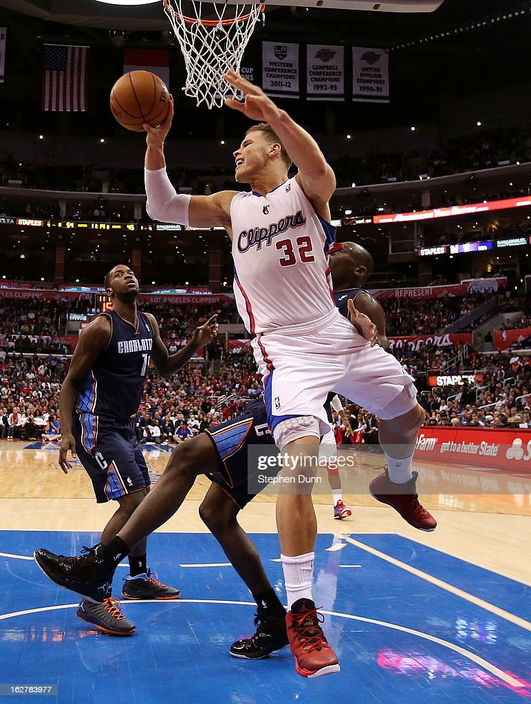Blake Griffin #32 of the Los Angeles Clippers passes the ball against the Charlotte Bobcats at Staples Center on February 26, 2013 in Los Angeles, California. The Clippers won 106-84.