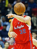 Blake Griffin of the Los Angeles Clippers passes the basketball across the court during their game against the Houston Rockets at the Toyota Center...