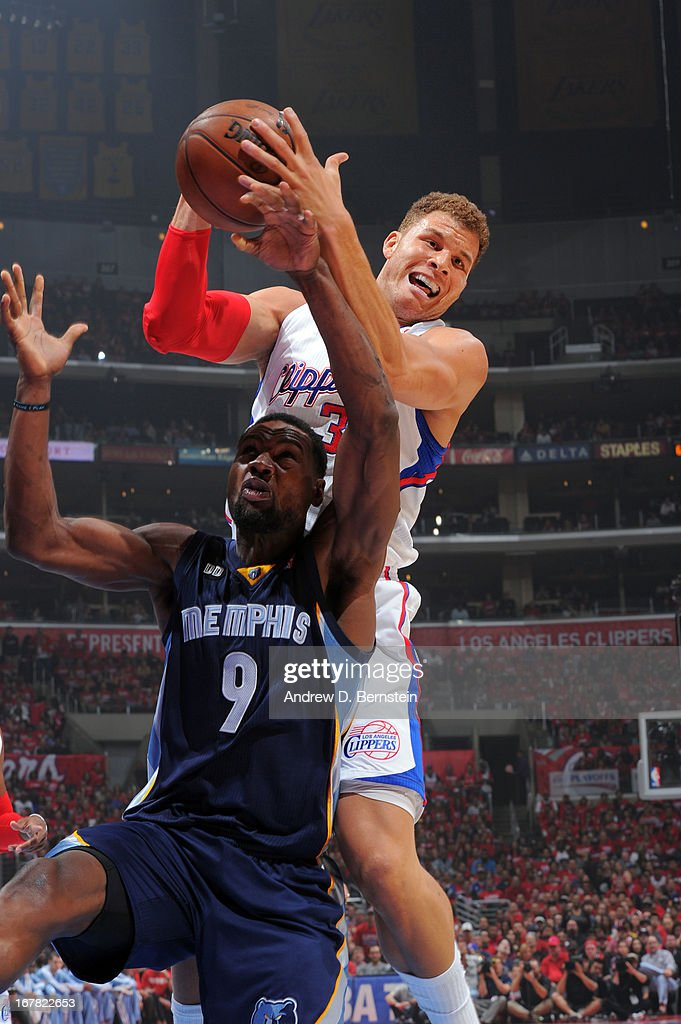 Blake Griffin #32 of the Los Angeles Clippers pulls down a rebound against Tony Allen #9 of the Memphis Grizzlies at Staples Center in Game Five of the Western Conference Quarterfinals during the 2013 NBA Playoffs on April 30, 2013 in Los Angeles, California.