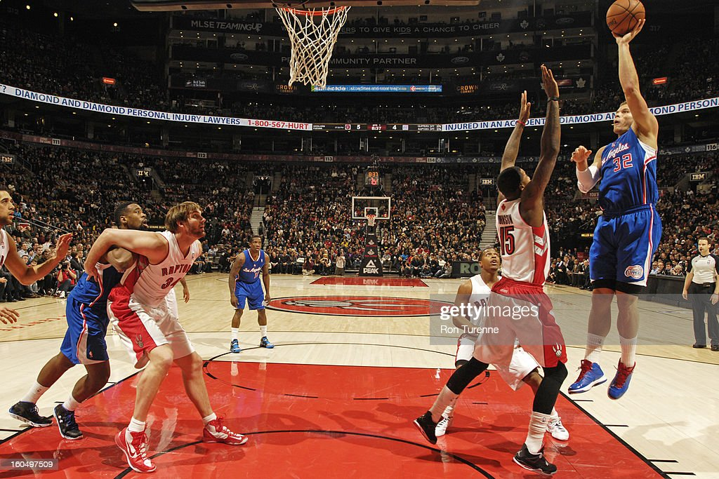 Blake Griffin #32 of the Los Angeles Clippers puts up a shot against the Toronto Raptors on February 1, 2013 at the Air Canada Centre in Toronto, Ontario, Canada.
