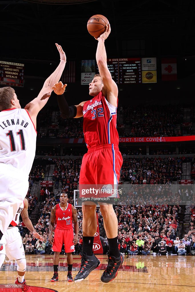<a gi-track='captionPersonalityLinkClicked' href=/galleries/search?phrase=Blake+Griffin+-+Basketball+Player&family=editorial&specificpeople=4216010 ng-click='$event.stopPropagation()'>Blake Griffin</a> #32 of the Los Angeles Clippers puts up a shot against the Portland Trail Blazers on January 26, 2013 at the Rose Garden Arena in Portland, Oregon.