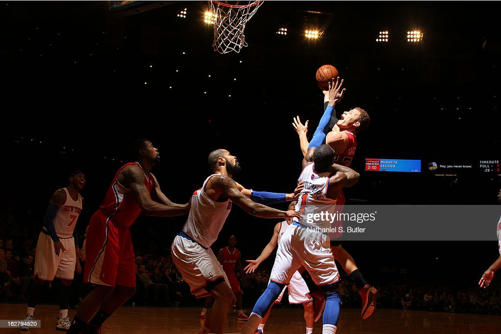 Blake Griffin #32 of the Los Angeles Clippers puts up a shot against the New York Knicks on February 10, 2013 in a game between the Los Angeles Clippers and the New York Knicks at Madison Square Garden in New York City.