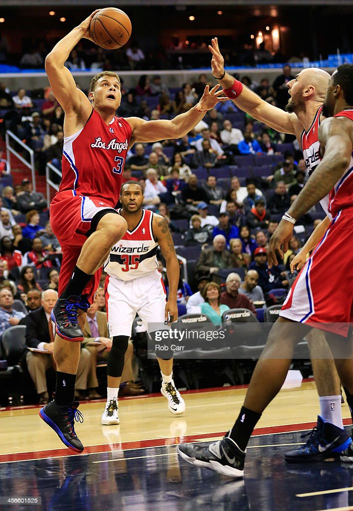 Blake Griffin #32 of the Los Angeles Clippers puts up a shot against the Washington Wizards during the second half at Verizon Center on December 14, 2013 in Washington, DC.