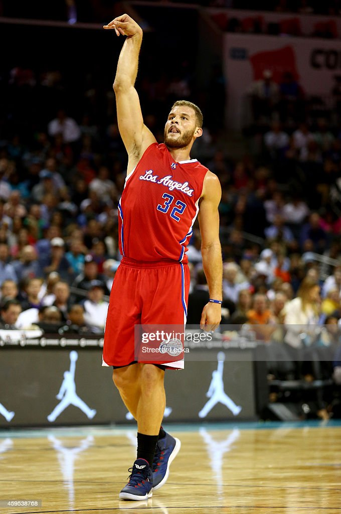 <a gi-track='captionPersonalityLinkClicked' href=/galleries/search?phrase=Blake+Griffin+-+Basketballer&family=editorial&specificpeople=4216010 ng-click='$event.stopPropagation()'>Blake Griffin</a> #32 of the Los Angeles Clippers reacts after a shot against the Charlotte Hornets during their game at Time Warner Cable Arena on November 24, 2014 in Charlotte, North Carolina. User expressly acknowledges and agrees that, by downloading and or using this photograph, User is consenting to the terms and conditions of the Getty Images License Agreement.