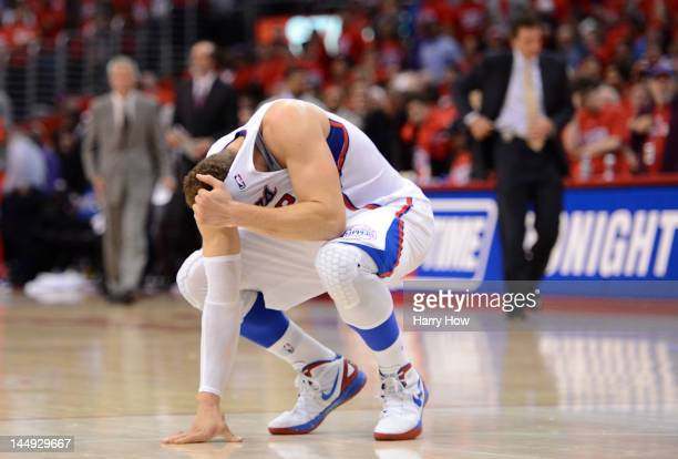 Blake Griffin of the Los Angeles Clippers reacts after the Clippers lose to the San Antonio Spurs 10299 in Game Four of the Western Conference...
