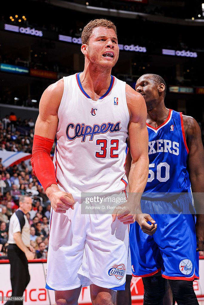 <a gi-track='captionPersonalityLinkClicked' href=/galleries/search?phrase=Blake+Griffin+-+Basketball+Player&family=editorial&specificpeople=4216010 ng-click='$event.stopPropagation()'>Blake Griffin</a> #32 of the Los Angeles Clippers reacts while <a gi-track='captionPersonalityLinkClicked' href=/galleries/search?phrase=Lavoy+Allen&family=editorial&specificpeople=4628334 ng-click='$event.stopPropagation()'>Lavoy Allen</a> #50 of the Philadelphia 76ers looks on during their game at Staples Center on March 20, 2013 in Los Angeles, California.