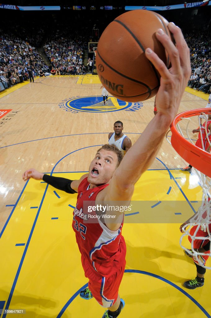Blake Griffin #32 of the Los Angeles Clippers rebounds against the Golden State Warriors on January 21, 2013 at Oracle Arena in Oakland, California.