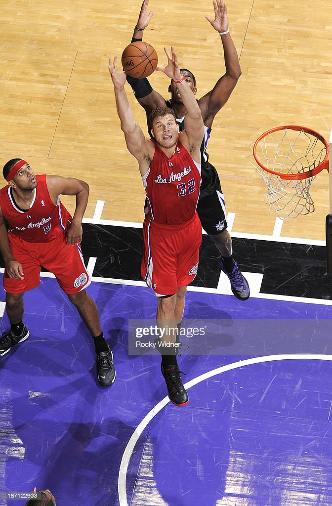 Blake Griffin #32 of the Los Angeles Clippers rebounds the ball against the Sacramento Kings on November 1, 2013 at Sleep Train Arena in Sacramento, California.