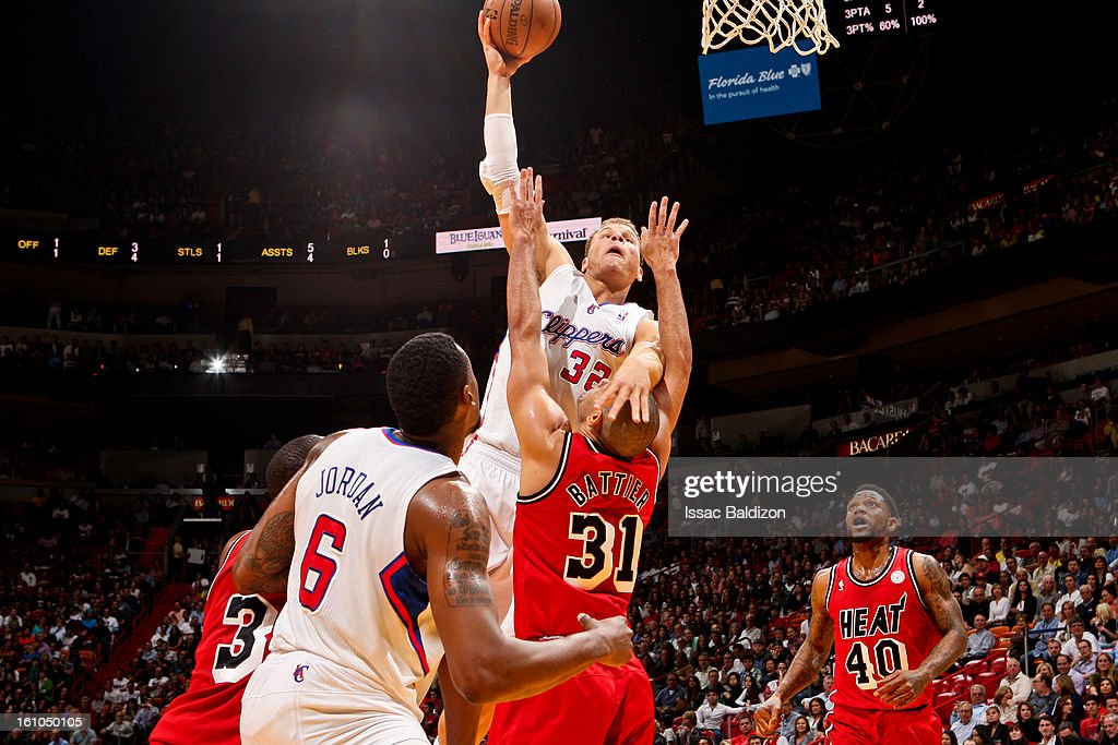 Blake Griffin #32 of the Los Angeles Clippers rises for a dunk against Shane Battier #31 of the Miami Heat on February 8, 2013 at American Airlines Arena in Miami, Florida.