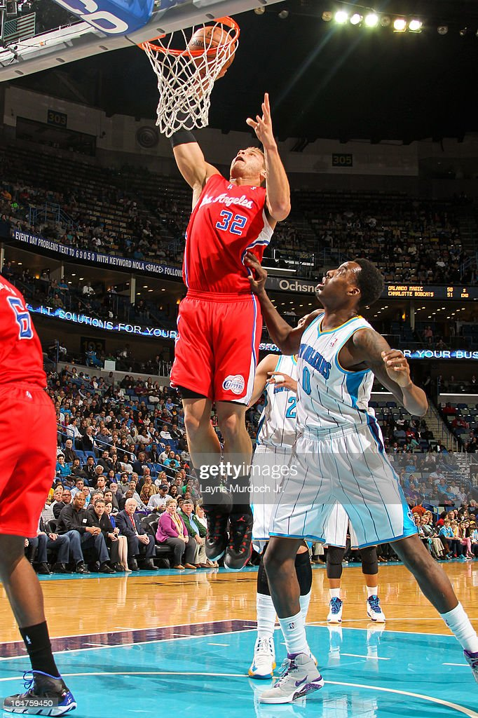Blake Griffin #32 of the Los Angeles Clippers rises for a dunk against Al-Farouq Aminu #0 of the New Orleans Hornets on March 27, 2013 at the New Orleans Arena in New Orleans, Louisiana.