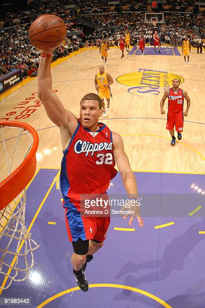 Blake Griffin of the Los Angeles Clippers rises for a dunk during a game against the Los Angeles Lakers at Staples Center on October 18 2009 in Los...