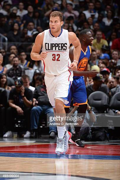 Blake Griffin of the Los Angeles Clippers runs down the court against the Golden State Warriors on October 20 2015 at STAPLES Center in Los Angeles...