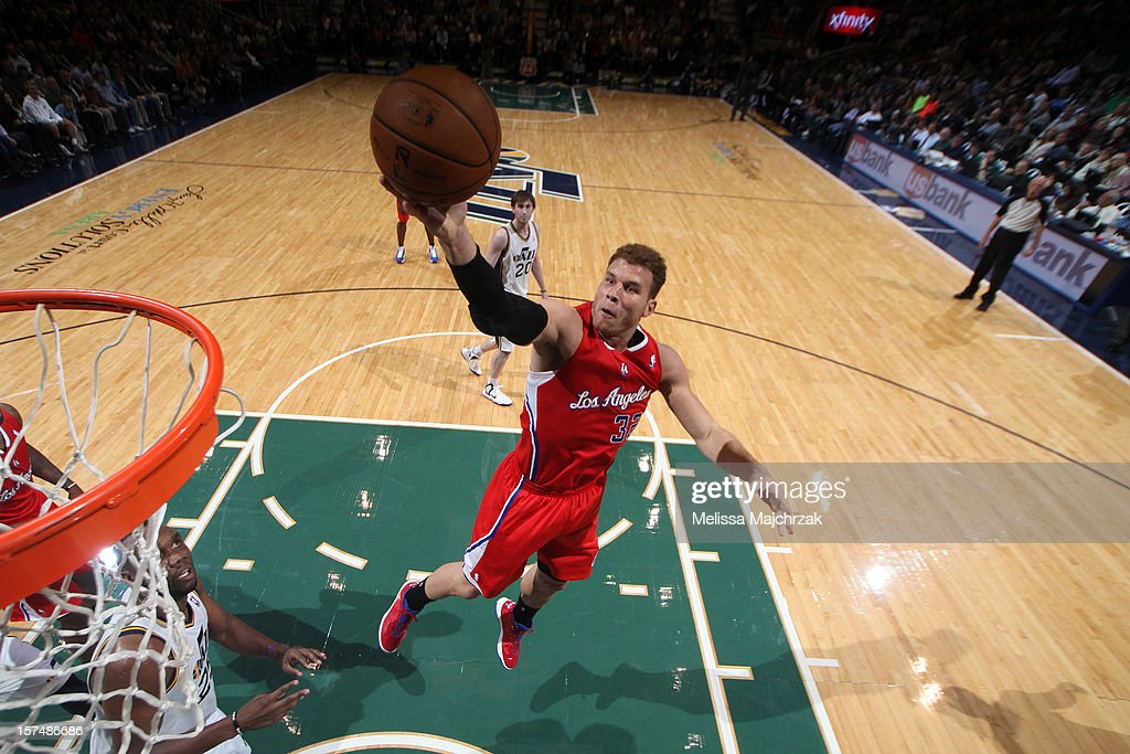 <a gi-track='captionPersonalityLinkClicked' href=/galleries/search?phrase=Blake+Griffin+-+Basketball+Player&family=editorial&specificpeople=4216010 ng-click='$event.stopPropagation()'>Blake Griffin</a> #32 of the Los Angeles Clippers shoots a layup against the Utah Jazz at Energy Solutions Arena on December 03, 2012 in Salt Lake City, Utah.